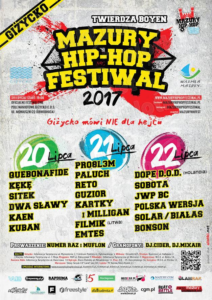 Plakat Mazury Hip Hop Festiwal 2017